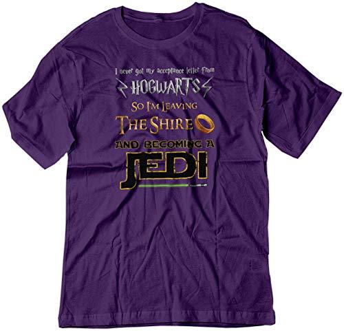 BSW Men's Harry Potter Lord of The Rings Star Wars Jedi Fan Shirt LRG Purple (Tshirt Hogwarts Jedi Shire)