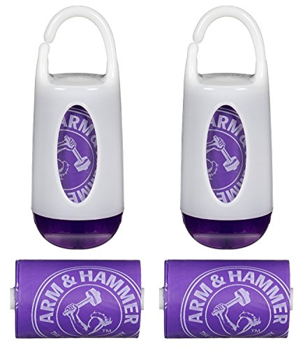 Munchkin Arm & Hammer Diaper Bag Dispenser and Bags, 2 Count, Purple
