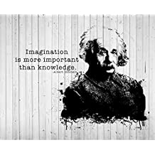 jplo9| # JP Londres macr25391/8in acrílico Resolución de Alta Definición Gloss Einstein Saying Inspirational Knowledge Imagination en 0,6m de alto por 0,9m Amplia