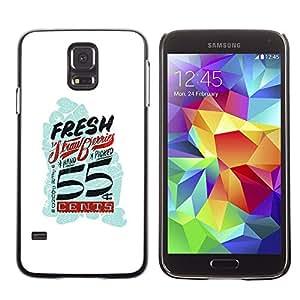 Be Good Phone Accessory // Dura Cáscara cubierta Protectora Caso Carcasa Funda de Protección para Samsung Galaxy S5 SM-G900 // Fresh Vintage Retro White Blue Cents