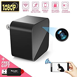 1080P WiFi Spy Camera, Hidden Camera, Mini Camera, Nanny Camera, USB Charger Camera with Motion Detection Loop Recording for Home and Office Security Surveillance