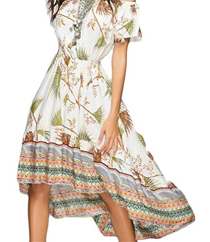 Boho Beach Flowy Dress Irregular Off Womens Domple Maxi 3 Printed Summer Shoulder xRpHq6O
