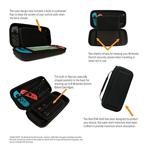 Orzly Carry Case for Nintendo Switch - BLACK Protective Hard Portable Travel Carry Case Shell Pouch for Nintendo Switch Console & Accessories