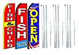 fish & chips fish tacos Open King Swooper Feather Flag Sign Kit With Complete Hybrid Pole set- Pack of 3