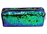 CC-US Women's Glitter Reversible Mermaid Sequins Cosmetic Bag Double Color Pencil Case DIY Shining Evening Bag Handbag