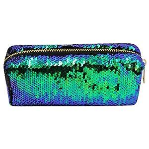 CC-US Women's Glitter Reversible Mermaid Sequins Cosmetic Bag Double Color Pencil Case DIY Shining Evening Bag Handbag