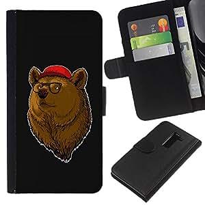 BearCase / Cuero de la tarjeta la carpeta del tirón Smartphone Slots Protección Holder /// LG G2 D800 /// Enfriar Hipster Oso