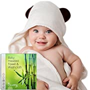 Organic Bamboo Hooded Baby Towel and Washcloth Set - Keeps Baby Warm and Dry, Extra Soft Bath Towel with Hood for Boys, Girls, Newborn, Infant and Toddler, Unique Baby Shower Gift