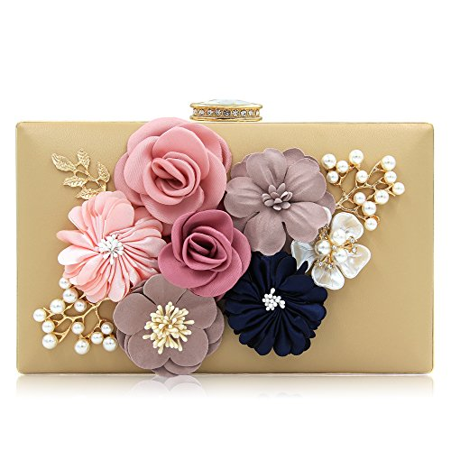 Clutch Purse Handbag Bag - Milisente Women Flower Clutches Evening Bags Handbags Wedding Clutch Purse (Beige)