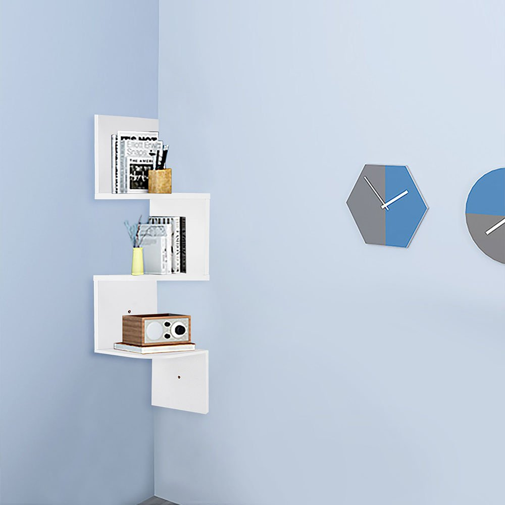 Yescom 3 Tiers Zig Zag Floating Wall Mount Corner Shelf Wooden Display Shelves Storage Organizer with Gradienter White