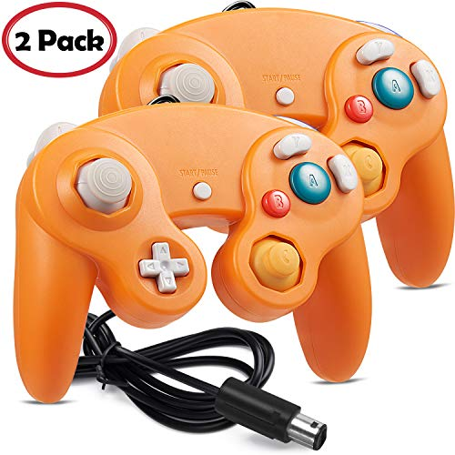 2 Pack iNNEXT Gamecube Controller, GC NGC Classic Wired Controller Compatible with Gamecube Wii Wii U Switch Video Game Console, 1.8m/5.9ft (Orange)
