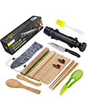 Sushi Making Kit - All in One Sushi Bazooka Maker with Bamboo Mats, Bamboo Chopsticks, Avocado Slicer, Paddle,Spreader,Sushi Knife, Chopsticks Holder, Cotton Bag - DIY Sushi Roller Machine