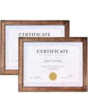 Emfogo 8.5x11 Certificate Frames Wood Picture Frame Rustic Document Frames with High Definition Glass Diploma Frames for Wall or Tabletop Display Set of 2 (Rustic)