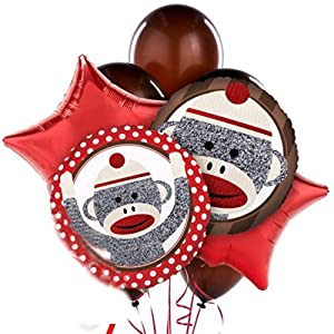 """Custom, Fun & Cool {Big Large 11""""-18"""" Inch} 10 Pack of Helium & Air Inflatable Mylar/Latex Balloons w/ Classic Kid's Sock Monkey Party Design [in Red, Brown, White & Black]"""