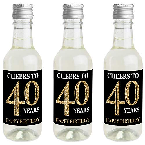 Adult 40th Birthday - Gold - Mini Wine and Champagne Bottle Label Stickers - Birthday Party Favor Gift for Women and Men - Set of 16