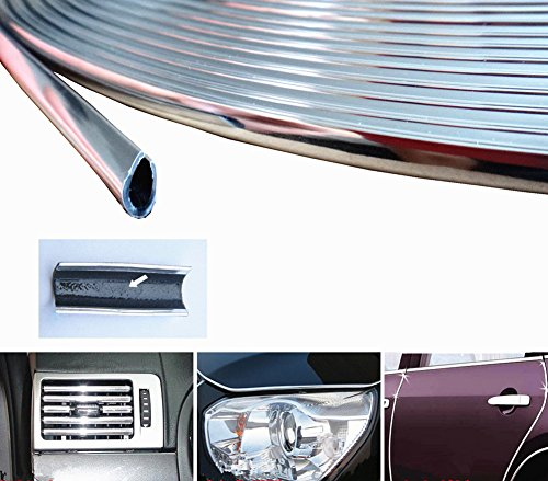 15 Feet Silver Door Front Rear Lip Edge Overlay Molding Guard Protection Decoration Stripe Trim D.I.Y. FIT