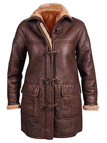 Spazeup Womens B3 Hoodie Fur Shearling Sheepskin Leather Duffle Coat