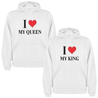 Pack de 2 Sudaderas Blancas para Parejas, My King y My Queen, Negro (