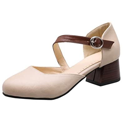 RAZAMAZA Damen Mode Slingback Spitze Pumps Beige Size 33 Asian vSYaSWl6