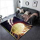 Vanfan Design Home Decorative symbolic picture for goal with a soccer ball in net Modern Non-Slip Doormats Carpet for Living Dining Room Bedroom Hallway Office Easy Clean Footcloth