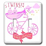 3dRose RinaPiro - Kids - Twins. Girls. Baby shower. Announcement. Cute picture. - Light Switch Covers - double toggle switch (lsp_261340_2)