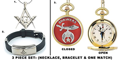 3 Piece Jewelry Set - Freemason Pendant, Bracelet & Shriner's Pocket Watch Gold Tone Steel. Freemason Carrying Child. Masonic Order Symbolism