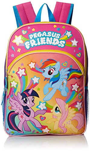 My Little Pony Girls' Pegasus Friends 16 Inch Backpack with Lights, Pink