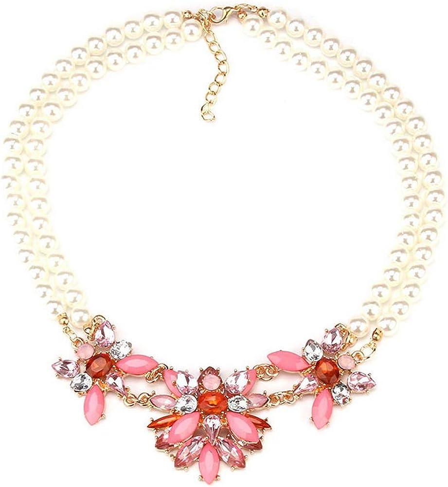 YAZILIND Moda Elegante imitación Perla Piedra Preciosa Flor Collar Mujer joyería Regalo