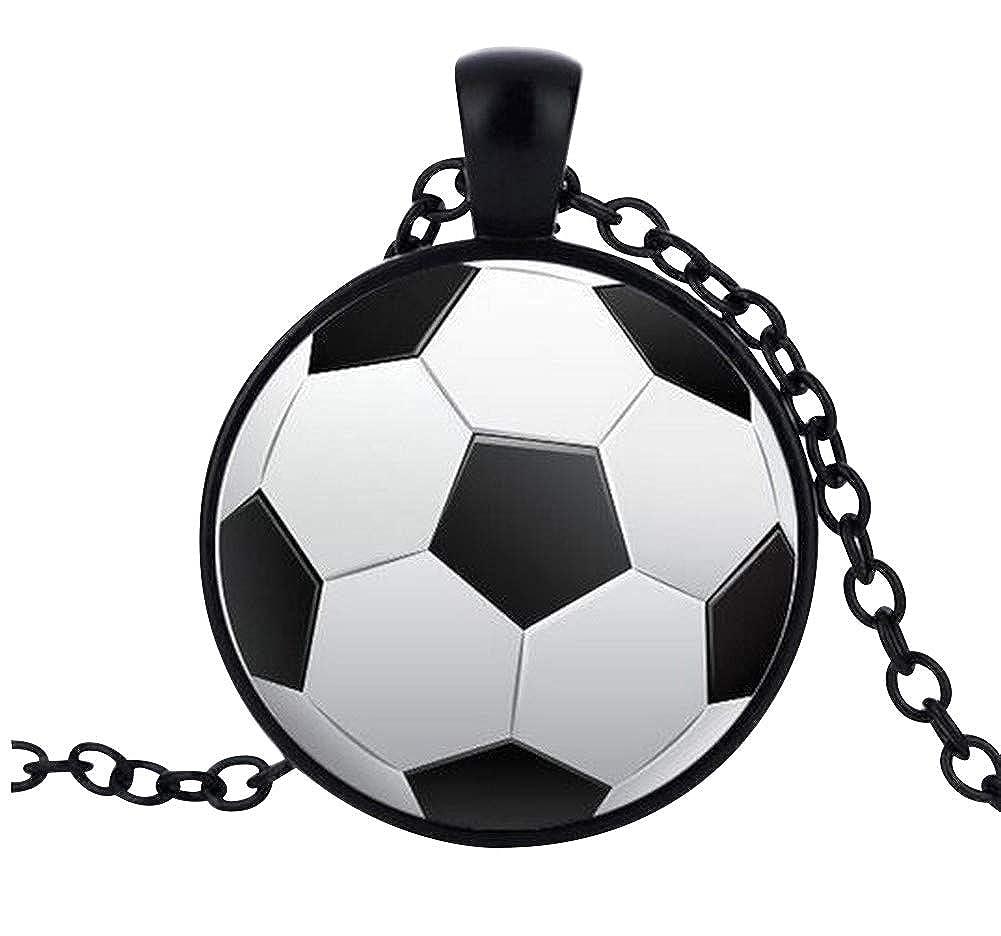 Générique Collar Colgante Estampado balón de fútbol, Cadena Negro ...
