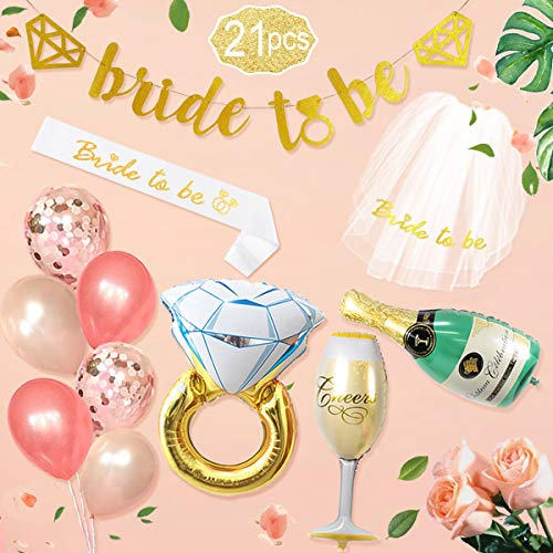 "Bachelorette Party Decoration Rose Gold Bridal Shower Decorations kit Bride To Be Banner Veil Sash for Bride,30""Engagement Diamond Ring Champagne Bottle Goblet Foil Balloons Rose Gold Confetti Balloon"