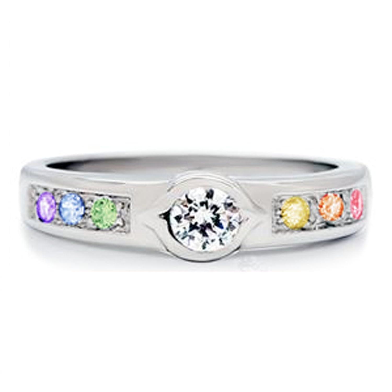 unique backset stone rainbow gem ring lesbian