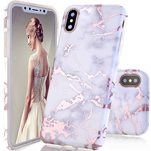 iPhone X Case,DOUJIAZ Shiny Rose Gold Metallic White Marble Design Clear Bumper TPU Soft Case Rubber Silicone Skin [Support Wireless Charging] Cover for iPhone X (2017)