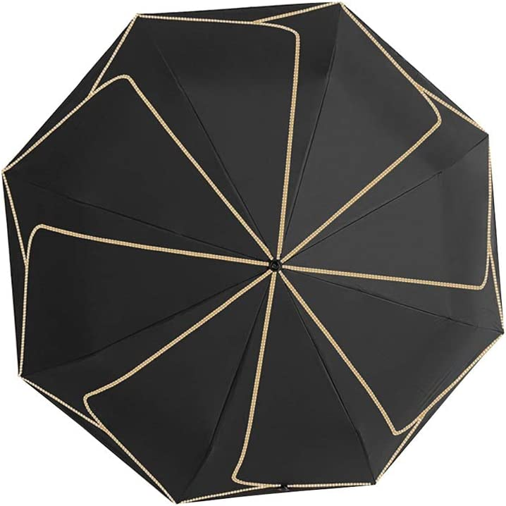 Color : Petal Black HongTeng Sun Umbrella Female Ultra Light Portable Folding Rain Sun Dual-use Umbrella Mini Tri-fold Petal Umbrella Black Beige