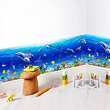 Amaonm 3D Under The Sea World Nature Scenery Removeable Art Decals Ocean  Animals Sharks, Dolphins Part 51