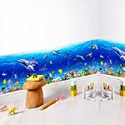 Amaonm 3D Under The Sea World Nature Scenery Removeable art Decals Ocean Animals Sharks, Dolphins, Coral Wall Decals Peel Stick art Stickers for Bathroom Wall Corner Bedroom Sink Living room (A)