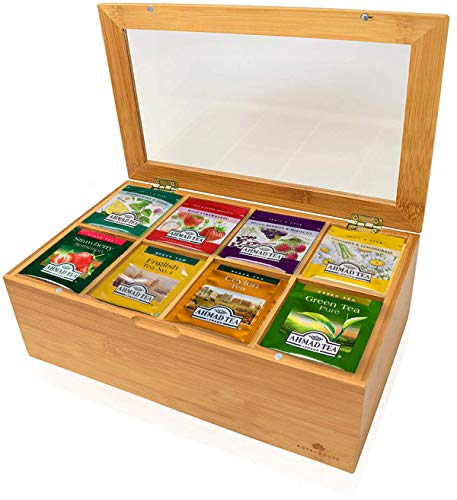 Ahmed Tea Bags Sampler Assortment Box (120 Count) - Perfect Variety Ahmad Tea pack in Bamboo Gift Box - Gift for Family, Friends, Coworkers- Ahmed Tea London English Breakfast, Early Grey more.