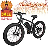 ECOTRIC Fat Tire Electric Bike Beach Snow Bicycle 26' 4.0 inch Tire Black Aluminum Ebike Powerful 500W Motor Electric Mountain Bicycle 36V/12AH Lithium Battery... (Black)