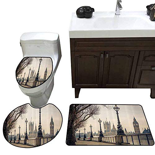 3 Piece Toilet lid Cover mat Set London Decor Collection View of Big Ben and Houses of Parliament from The Riverside with Retro Street Lights Picture 3 Piece Toilet Cover Set Ivory ()