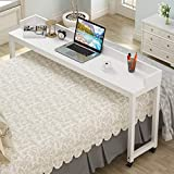 Overbed Table with Wheels, Tribesigns 70.8'' Queen Size Mobile Desk with Heavy-Duty Metal Legs, Works as Pub Table, Counter Height Dining Table or Computer Table Desk, Super Sturdy and Stable (White)