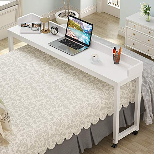 Overbed Table with Wheels, Tribesigns 70.8'' Queen Size Mobile Desk with Heavy-Duty Metal Legs, Works as Pub Table, Counter Height Dining Table or Computer Table