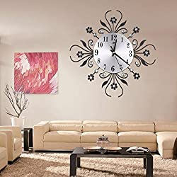 OHTOP Modern Metal Flower Diamond Rhinestone Silent Wall Clock Room Home Office Decor 13.78 Inch (Black)