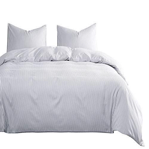 Wake In Cloud - Gray White Striped Comforter Set, Grey Vertical Ticking Stripes Pattern Printed on White, Soft Microfiber Bedding (3pcs, King Size) (Comforter Set Grey Striped)
