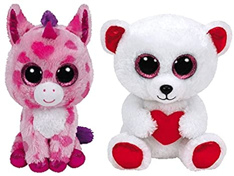 Amazon.com  BEANIE BOOS Ty 2016 Valentines bundle set with Sugar Pie ... 2f21c46a178