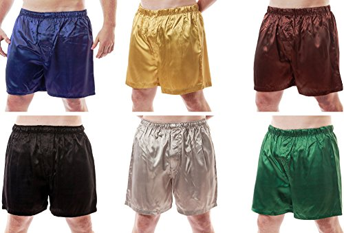 (Up2date Fashion Men's 6 Satin Boxer Shorts Combo Pack, Six Boxers, Style MSC-6B01 (X-Large))