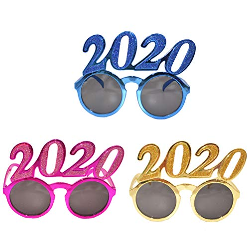 PRETYZOOM 3PCS Glitter 2020 Number Glasses Photo Props Party Favors Supplies for Birthday Costume Party Cosplay