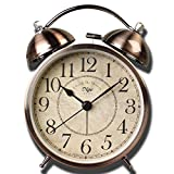 Justup Retro Alarm clock, Metal Twin Bell Classic Retro Table Alarm Clock Non Ticking Battery Operated with Backlight HD Glass Lense for Home Office (Arabic No.)
