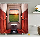 House Decor Shower Curtain Set By Ambesonne, Fresh Nature Setting From Train Compartment Window Railroad Destination Travel Image, Bathroom Accessories, 69W X 70L Inches, Red Green Cream
