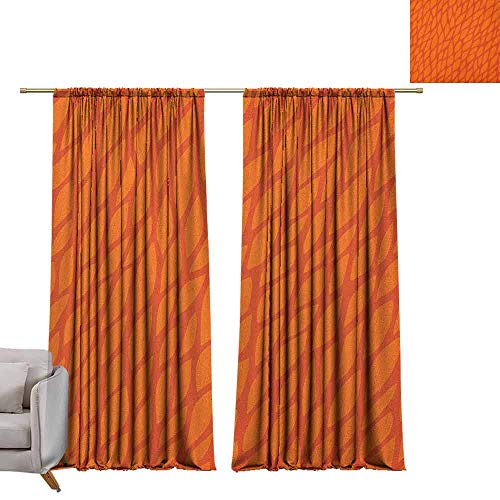 berrly Window Curtains Burnt Orange,Abstract Foliage Leaves Pattern Sketch Nature Growth Composition, Orange Burnt Orange W96 x L84 Grommet Window Drapes
