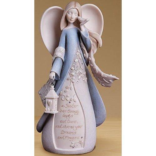 Foundations Sister Angel Stone Resin Figurine, 7.5