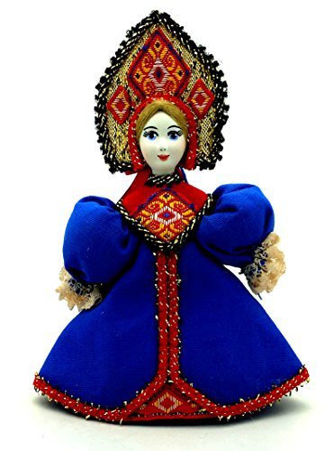 CHRISTMAS Tree Ornament Russian Doll in traditional folk costume with porcelain hand painted face Girl in a blue dress gift